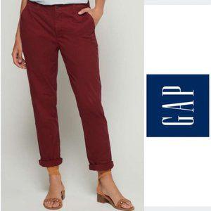 New Gap Girlfriend Chino Pants Burgundy maroon